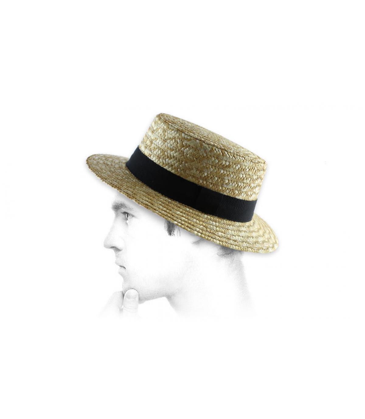 cappello di paglia treccia nera