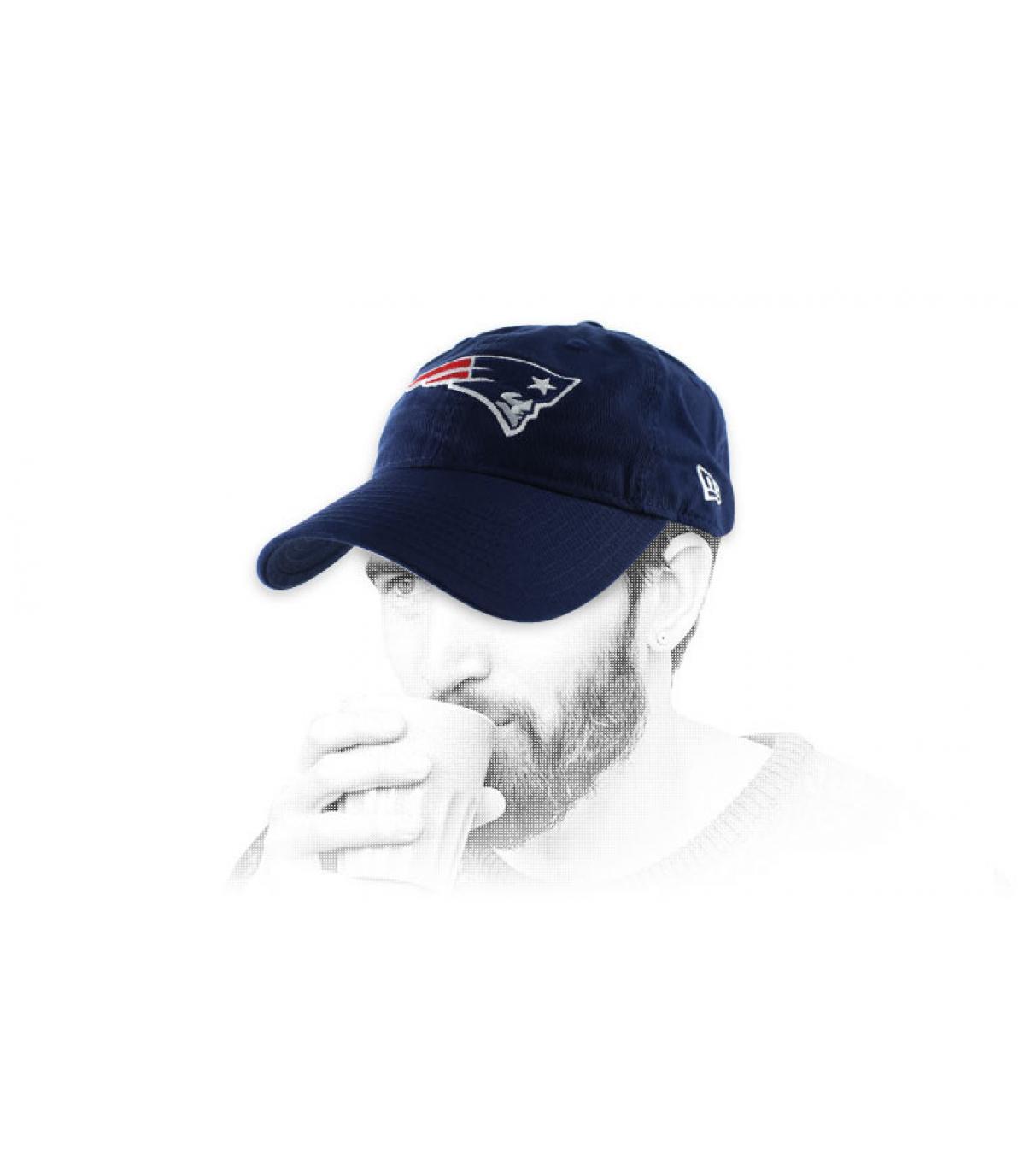 Patriots cap curva blu