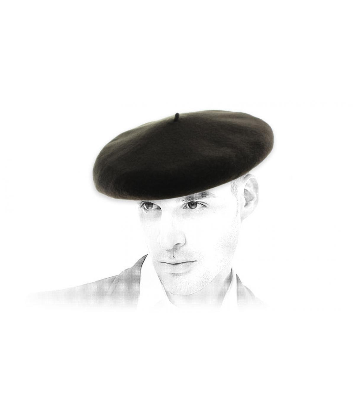 berretto in pelle Merino capra nera