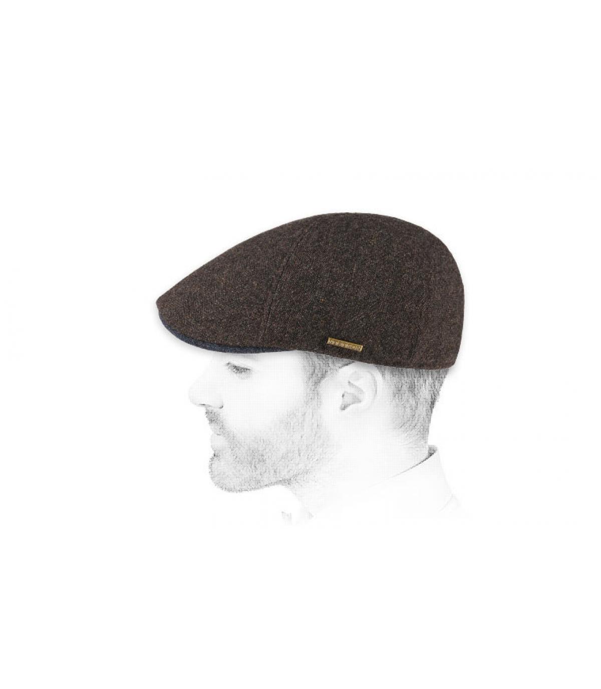 lana marrone berretto a becco d'anatra
