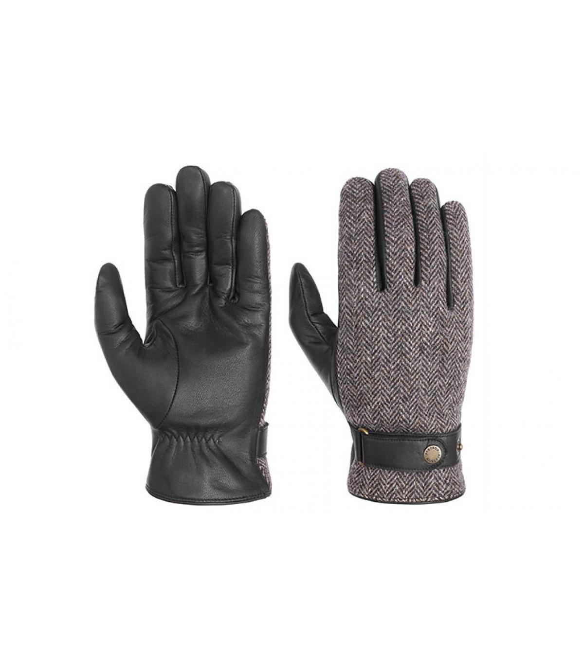 guanti in pelle e tweed Stetson