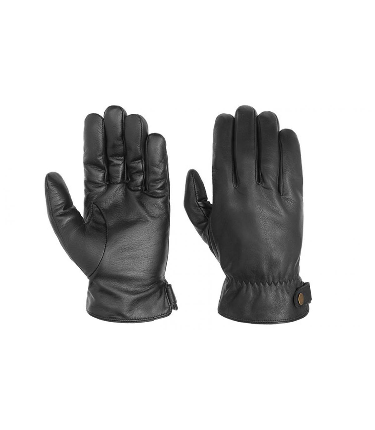 guanti in pelle nera toccano Stetson