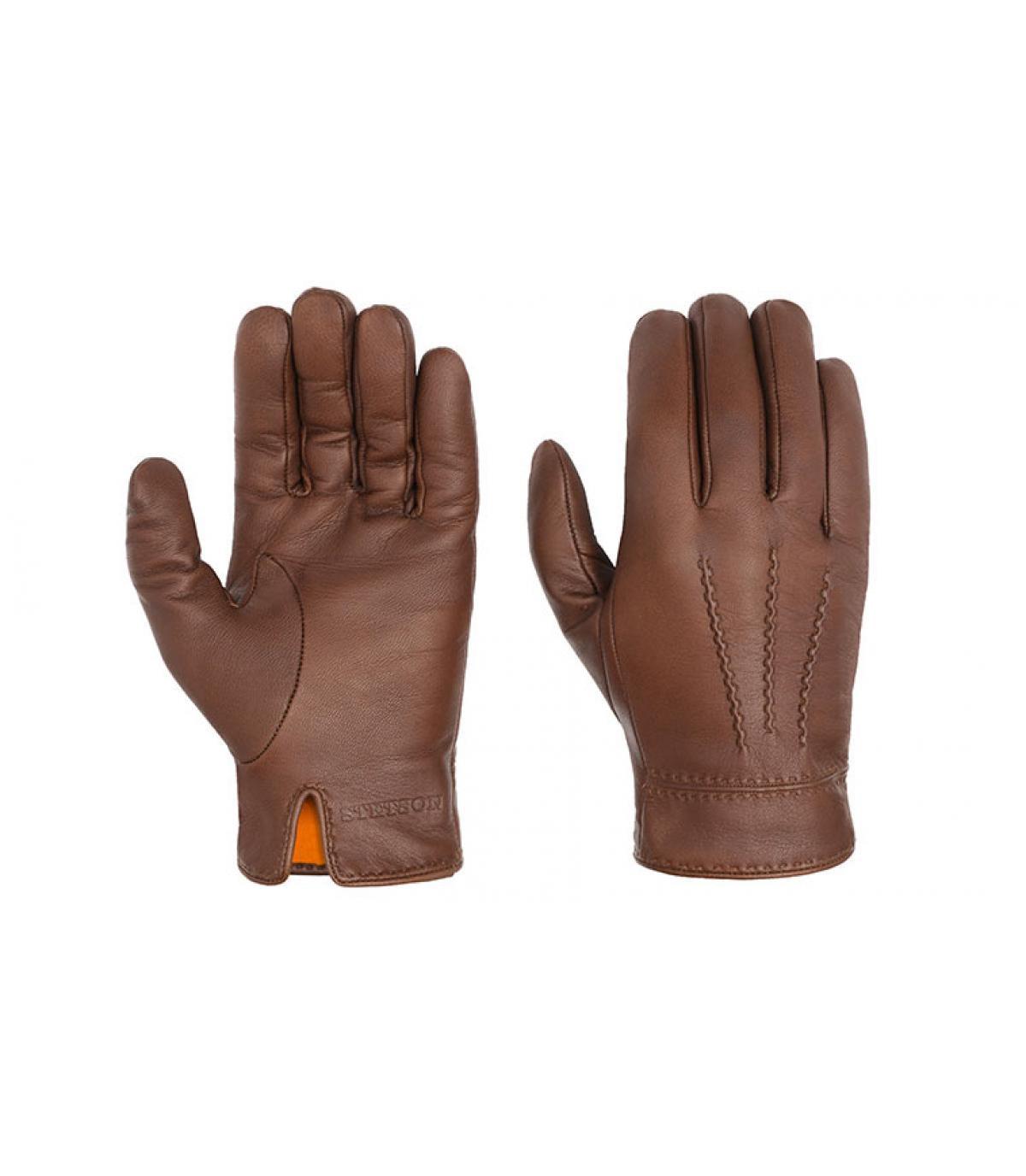 Brown guanti di pelle Stetson