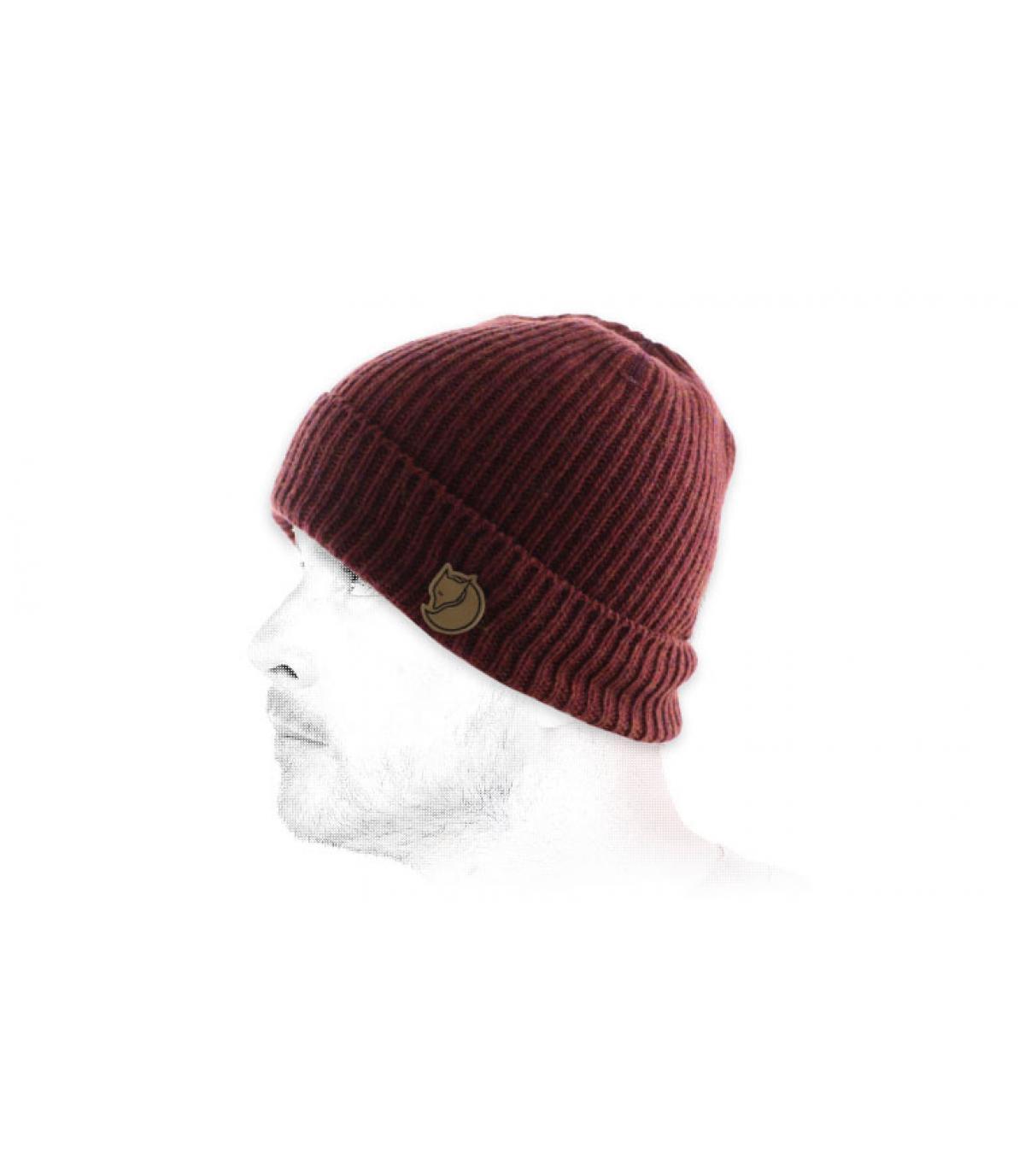 berretto di lana bordeaux bavero