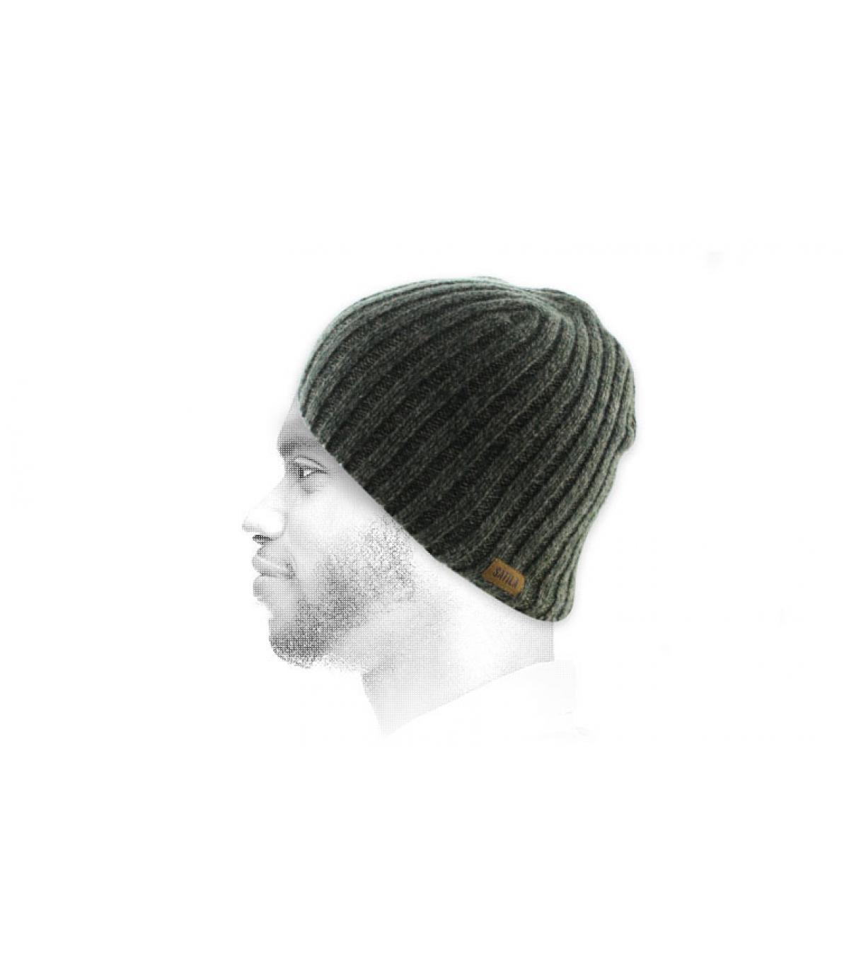 berretto lungo verde screziato