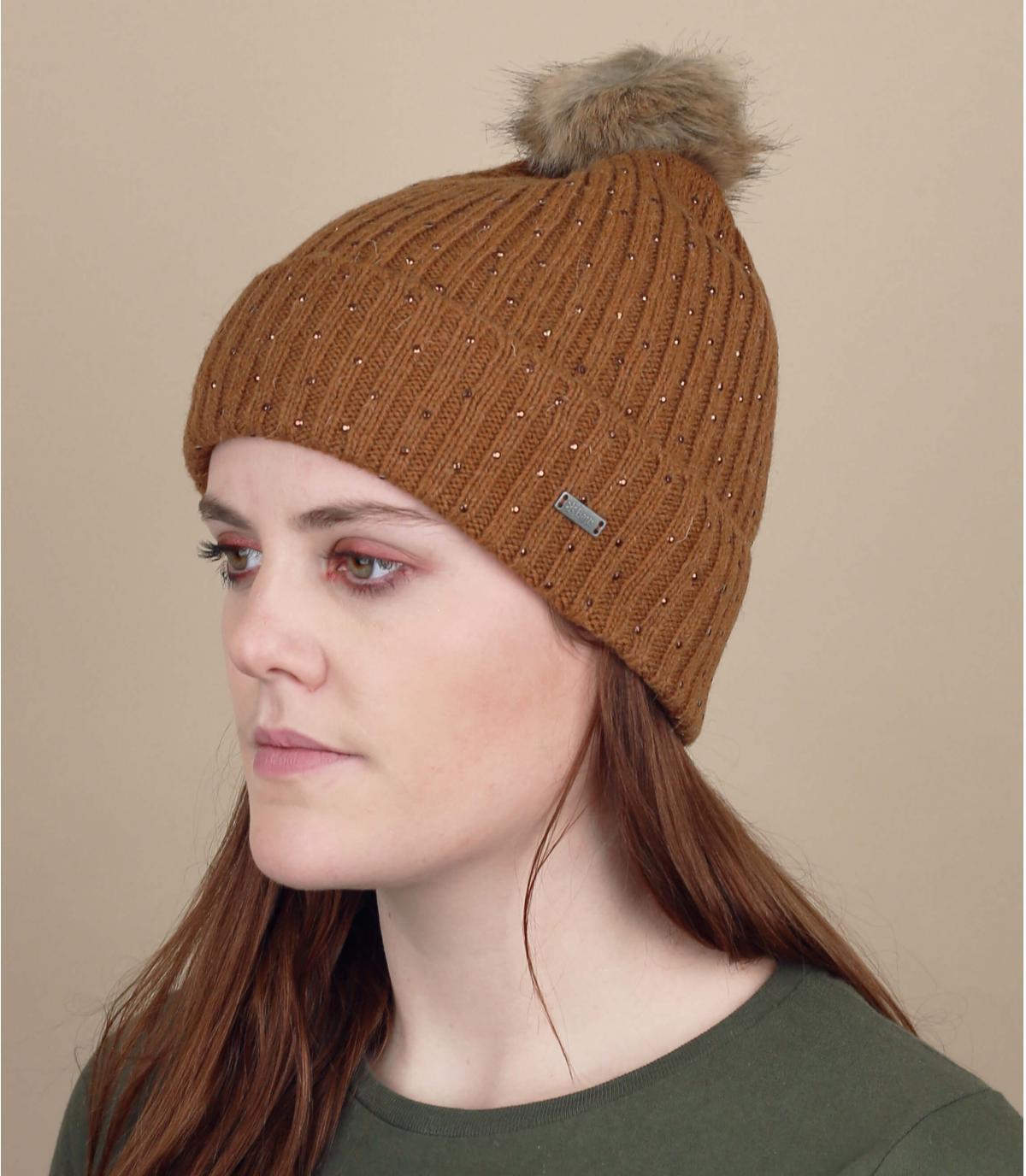 cappello di pelliccia strass nappa marrone
