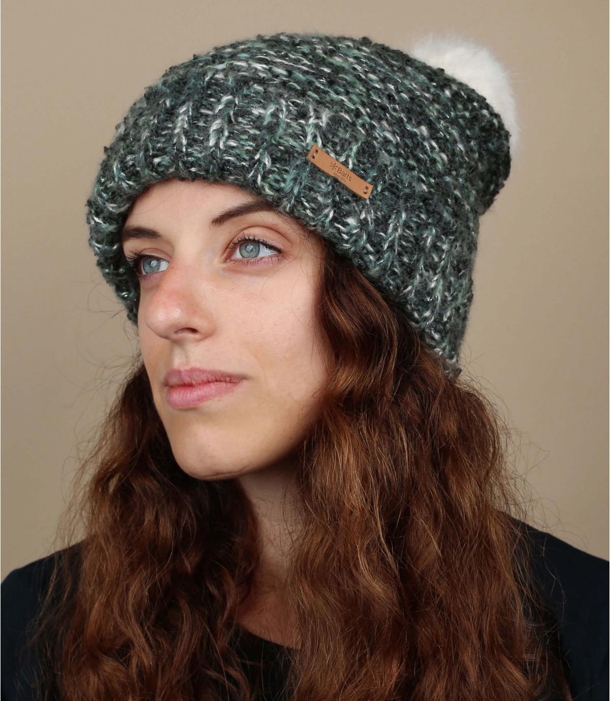 cappello grigio bobble bianco