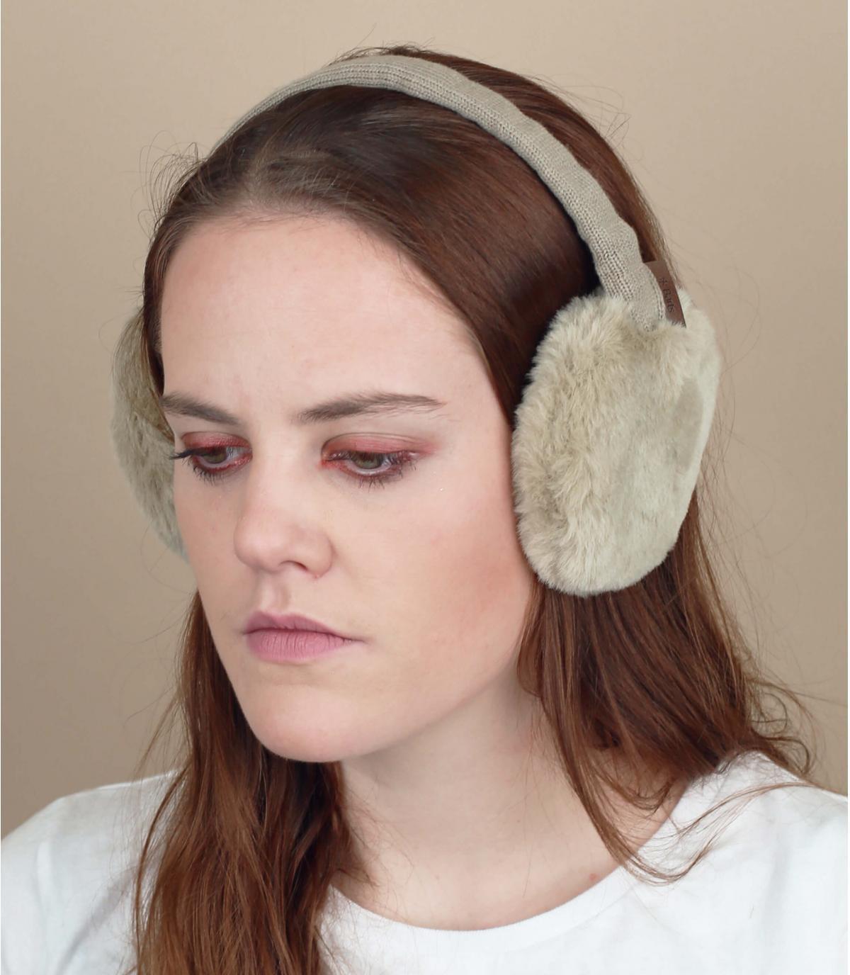 tappi per le orecchie di pelliccia beige