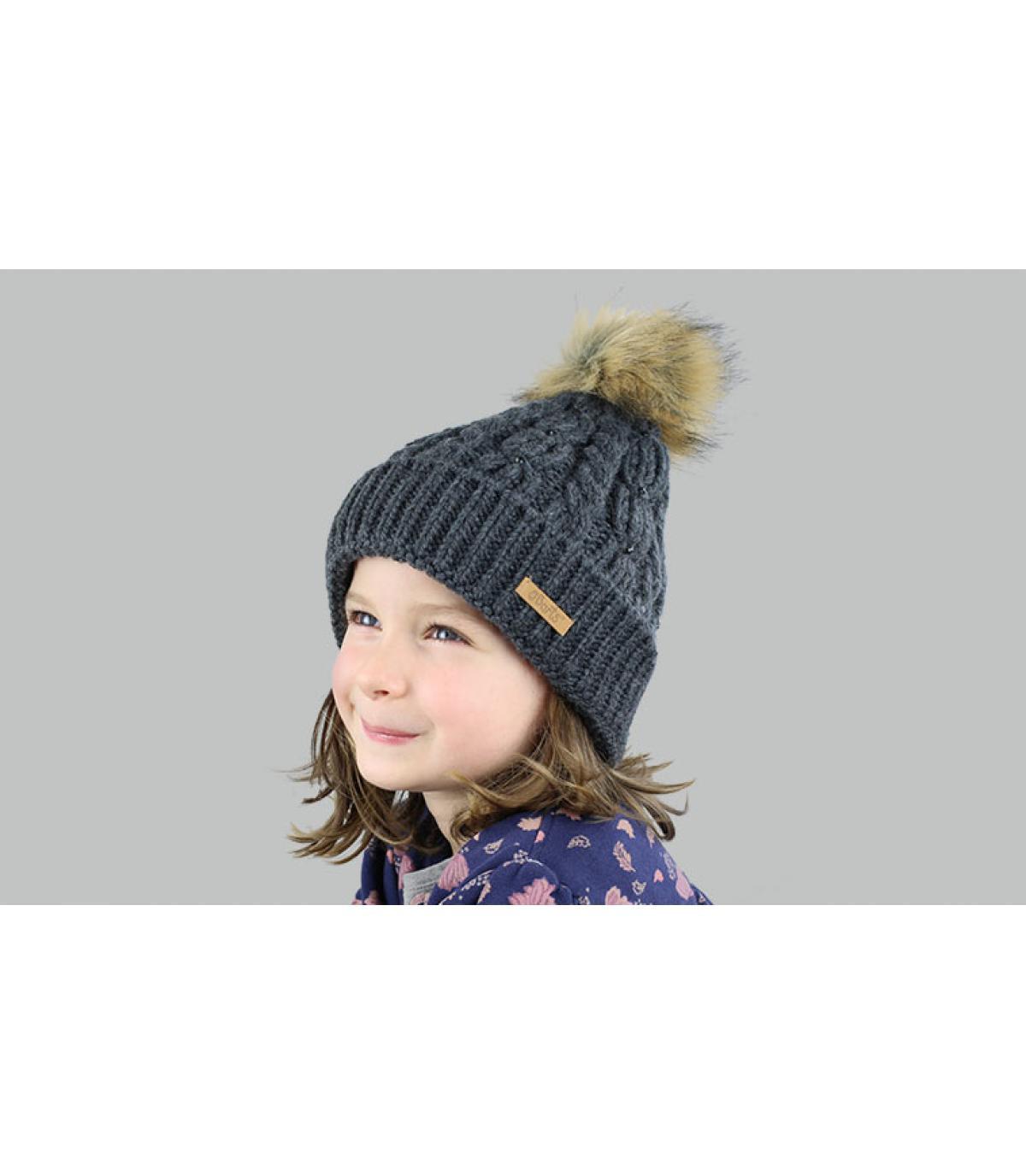 cappello grigio nappa ragazza