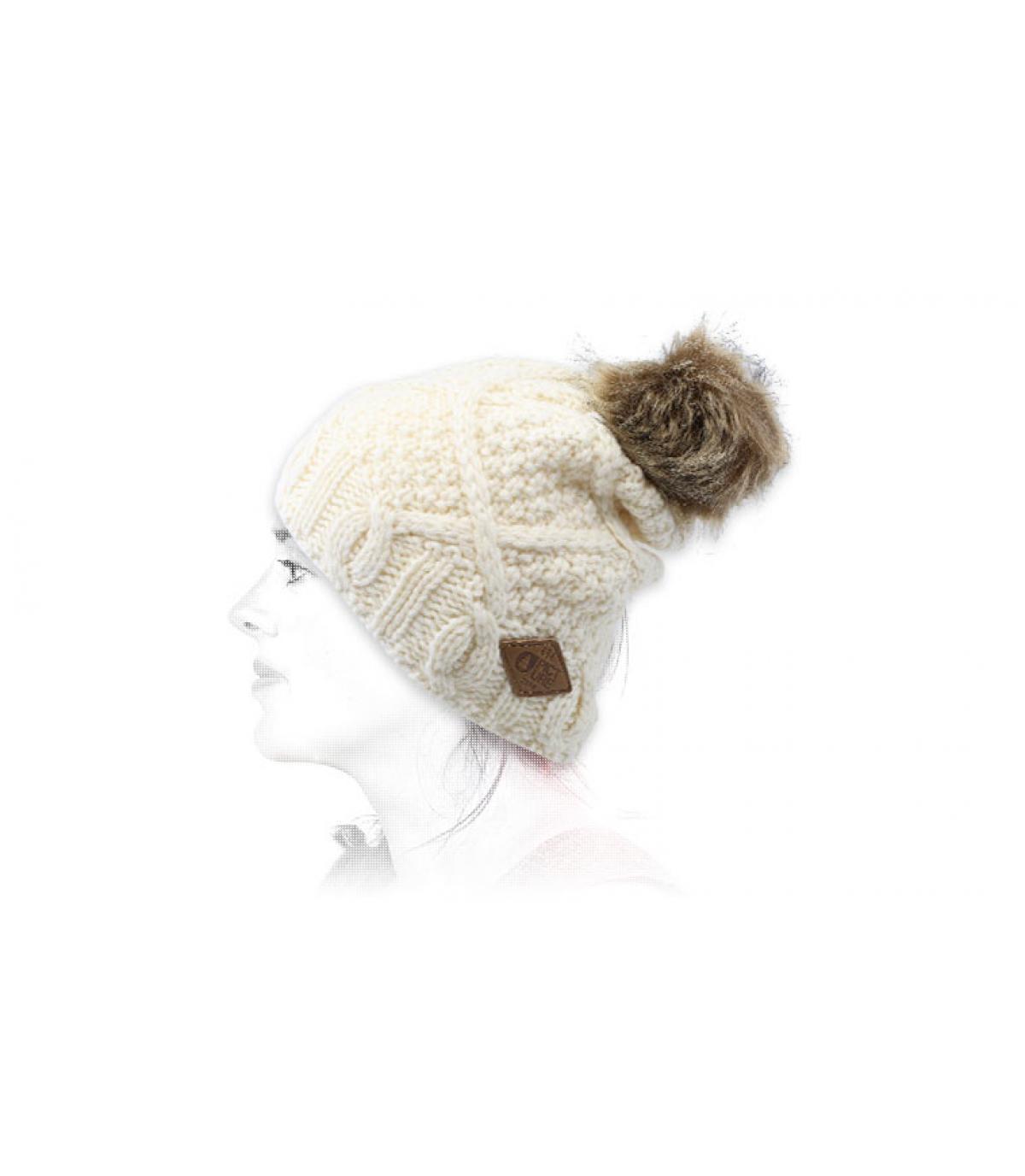 berretto di lana pompon bianco