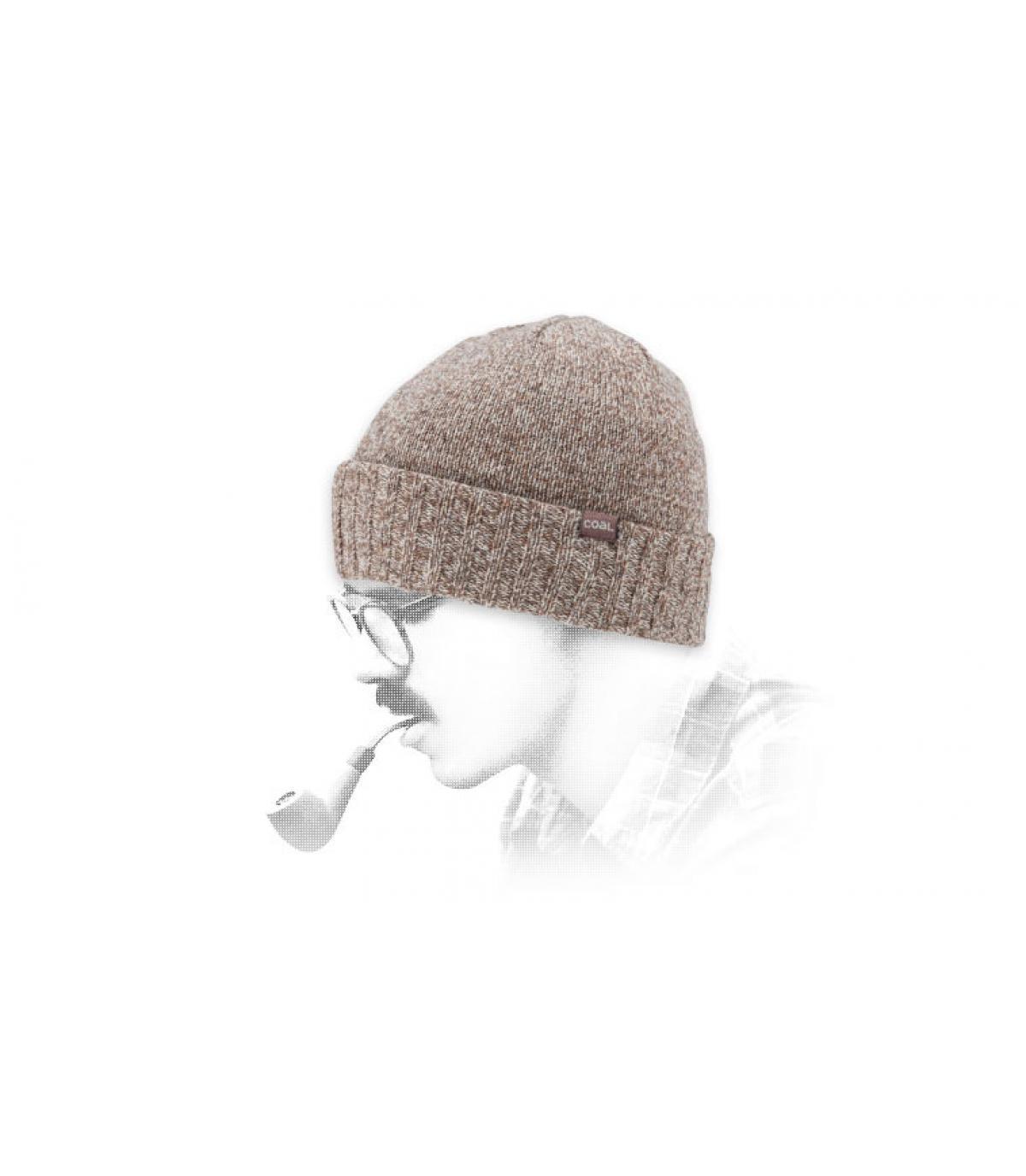 Carbone berretto di lana marrone