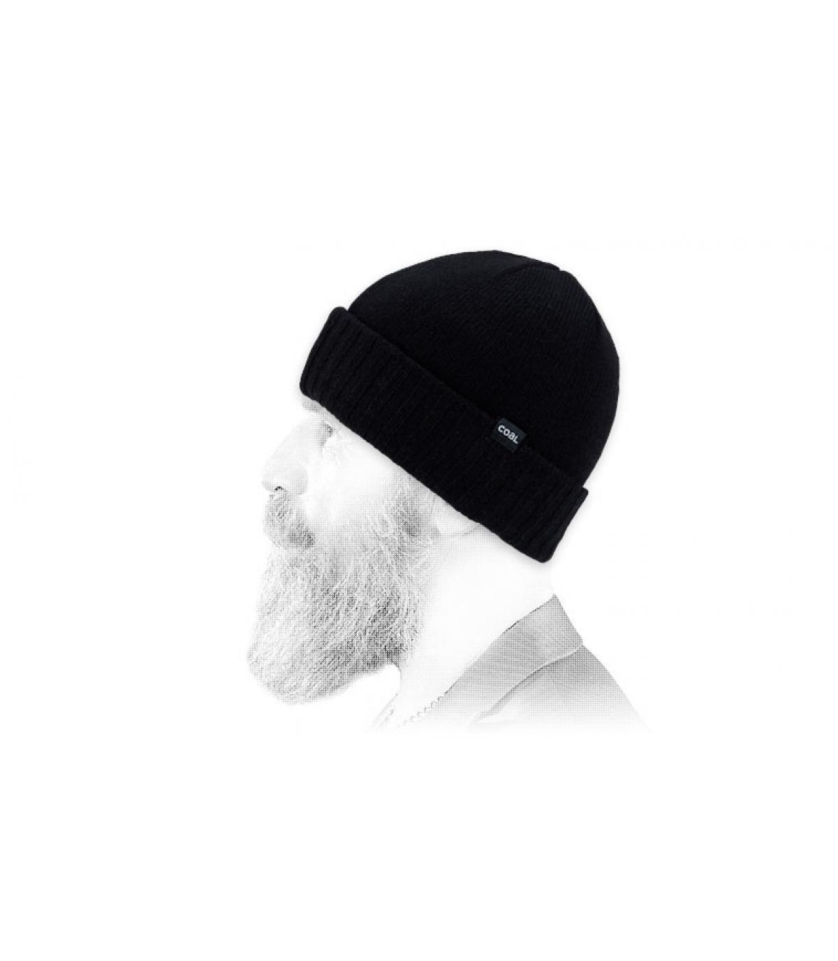 Carbone berretto di lana nera