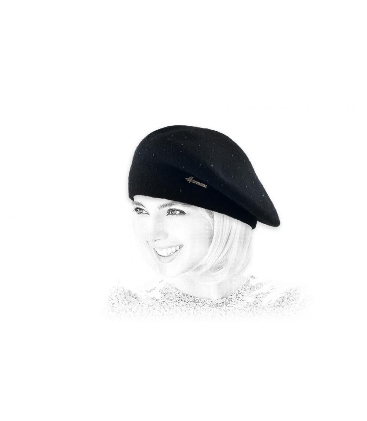 strass berretto nero