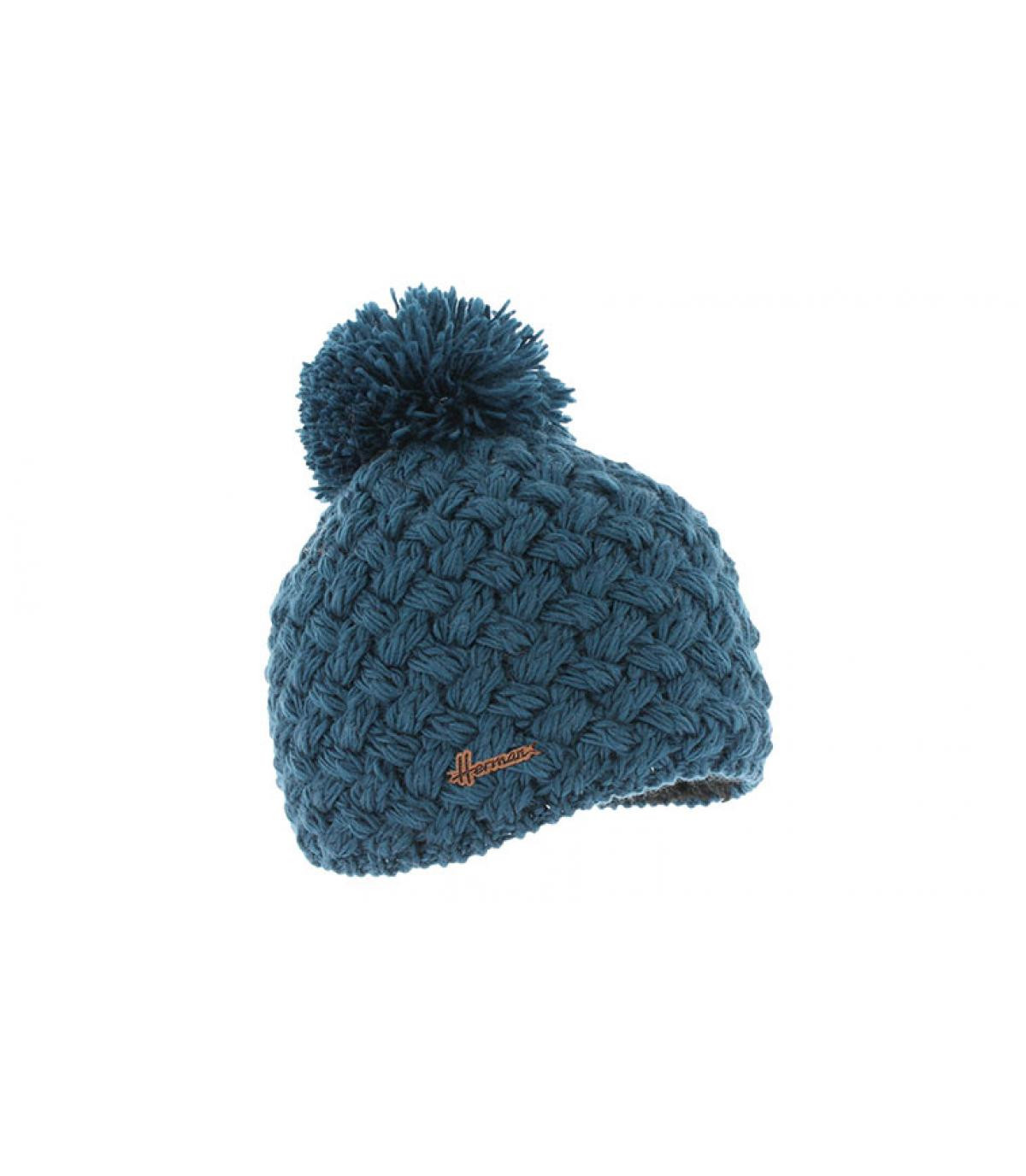 berretto di lana blu nappa
