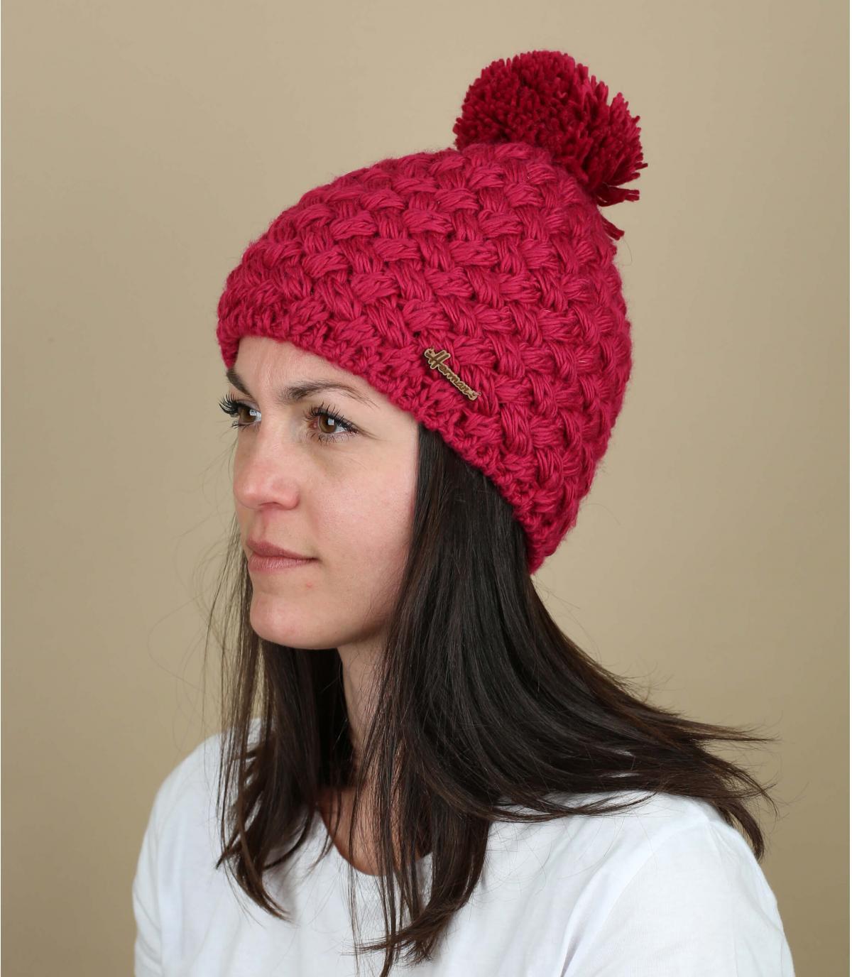 cappello pompon di lana rosa