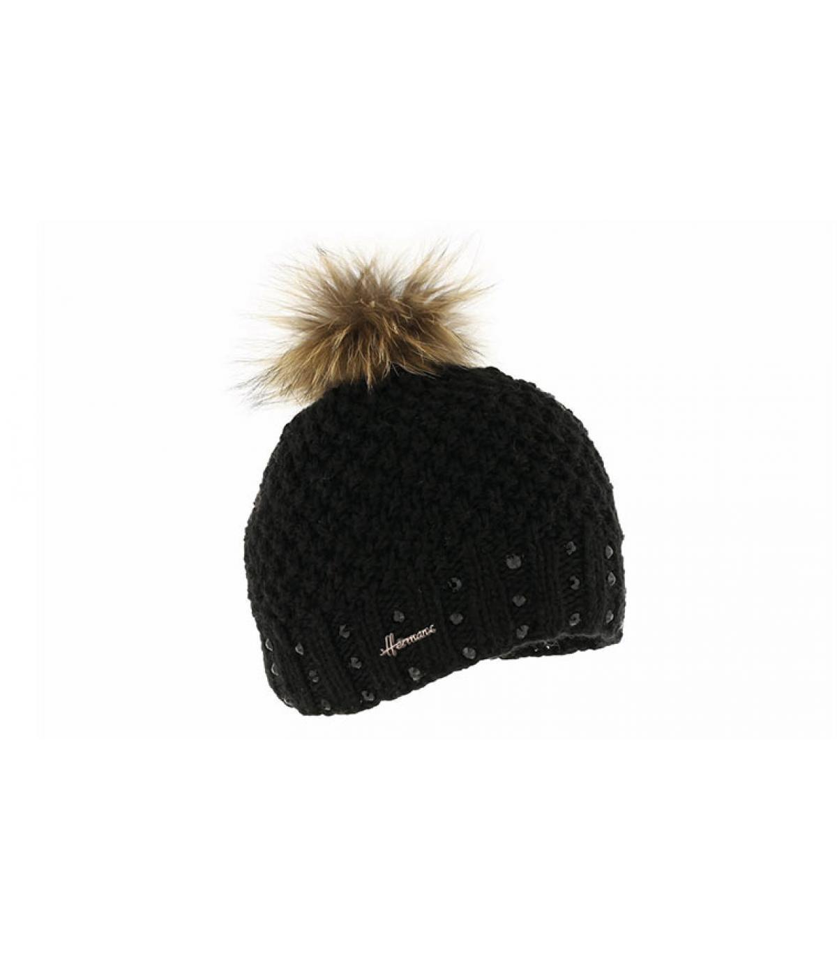 berretto nero pompon di pelliccia bambino