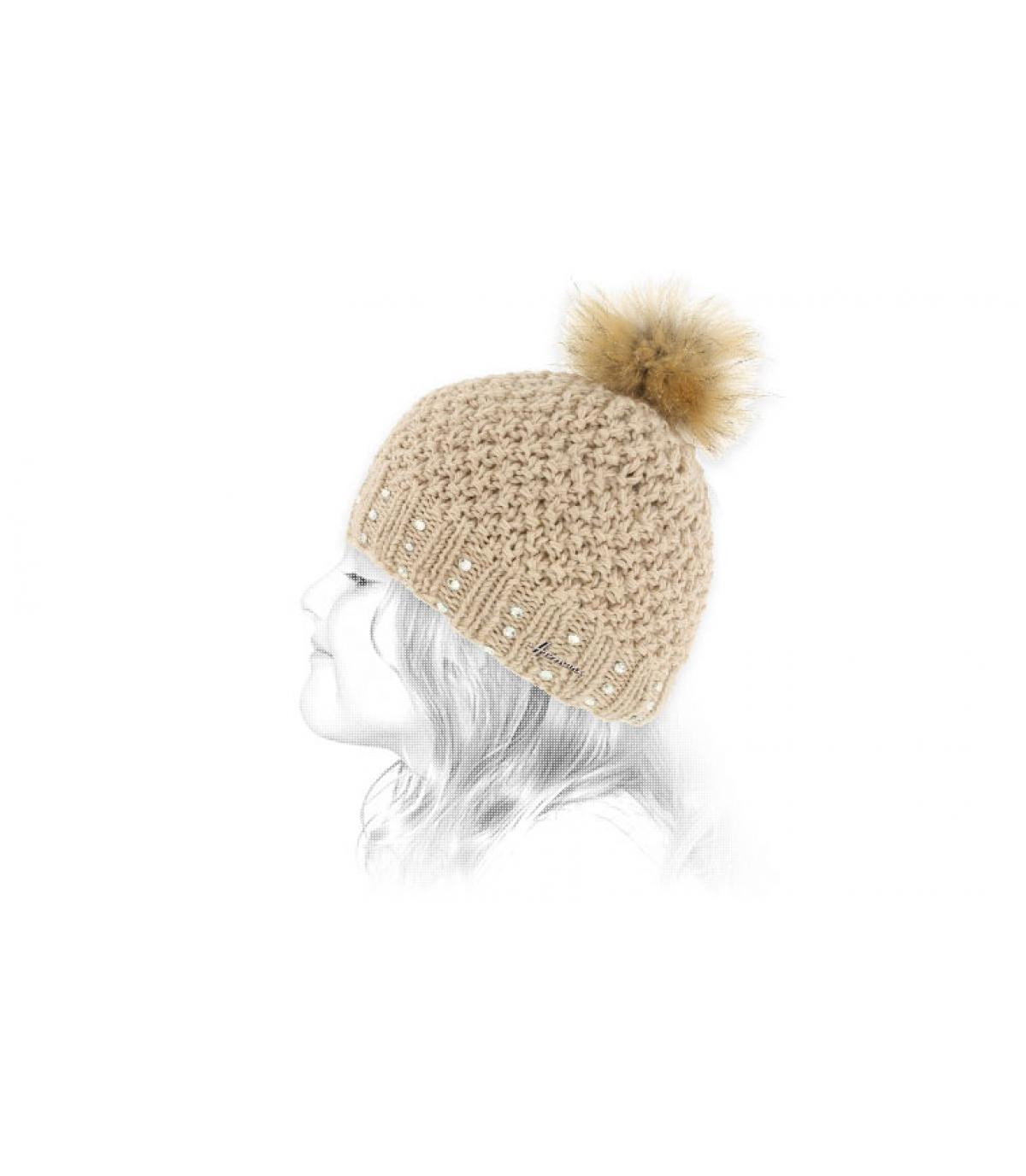 beige cappello di pelliccia pompon bambino