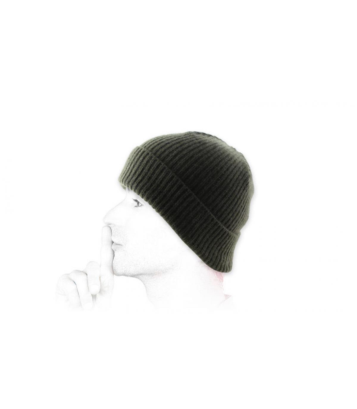lana verde cappello bavero