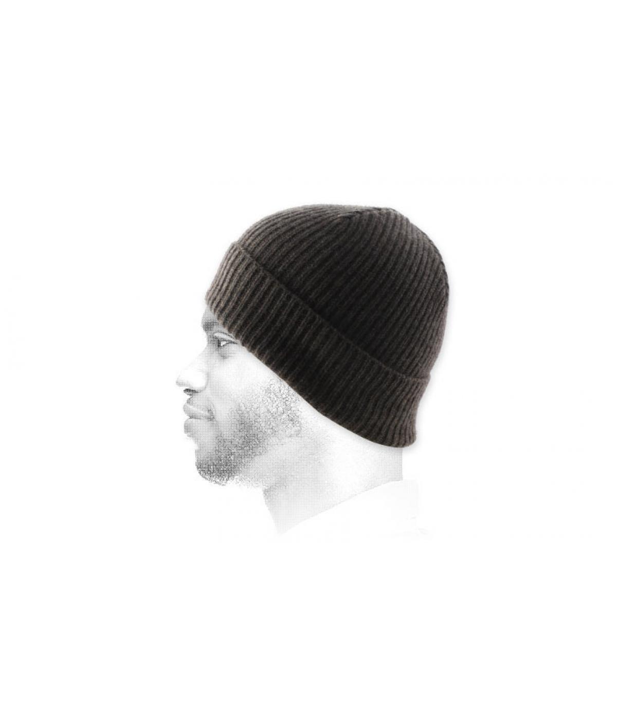 cappello bavero angora marrone