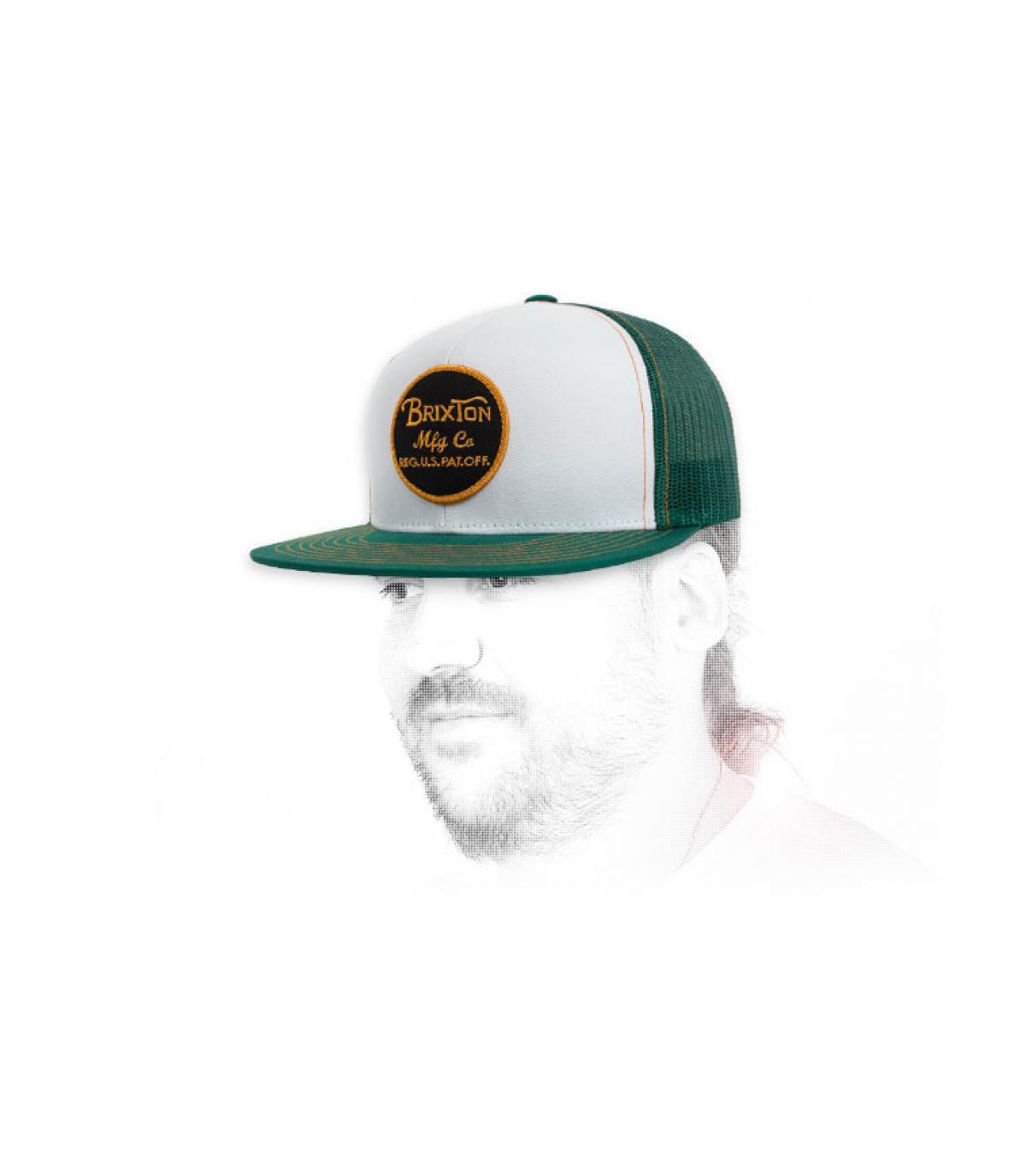 Brixton verde bianco snapback